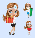 Vector illustration. Set of doctors or nurse in different poses.