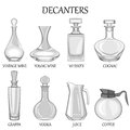 Vector illustration of set of eight decanters of various drinks.