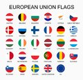 Vector illustration set of European Union countries flags on white background. EU members flags. Royalty Free Stock Photo