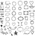 Set of hand drawn frames, dividers, borders decorative elements Royalty Free Stock Photo