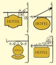 Vector illustration of the set of hotel sign board Royalty Free Stock Photography