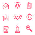 Vector illustration of set icon Valentines day concept in flat bold line style. Graphic design pink icons love letter