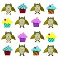 Vector illustration set of kids owls and sweets