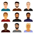 Vector illustration set of male man character faces avatars in different clothes and hair styles. Man guy avatar in