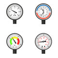 Vector illustration set of manometers. Royalty Free Stock Photo