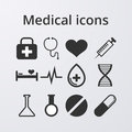 Vector illustration of a set of medical icons