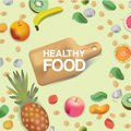 Vector realism style illustration about healthy food. The cutting board is surrounded by fruits, cereals and nuts