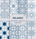 Vector illustration of a set of seamless patterns Islamic