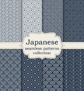 Vector illustration set of seamless patterns Japanese Royalty Free Stock Photo