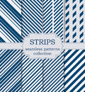 Vector illustration of a set of seamless patterns strips Royalty Free Stock Photo
