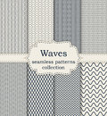 Vector illustration set of seamless patterns waves Royalty Free Stock Photo