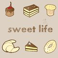 Vector illustration set sweet cakes and pastries for your design Stock Image