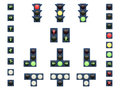 Vector illustration of a set of traffic lights