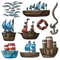 Vector illustration set of various cartoon ship lifebuoy anchor sea waves Royalty Free Stock Photo
