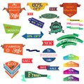 Vector illustration set of vintage Label, Banner Tag Sticker Badge and Ribbons design elements. Royalty Free Stock Photo