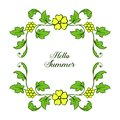 Vector illustration shape hello summer with bright yellow wreath frames