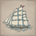 Vector illustration of ship on the old paper Royalty Free Stock Photography