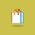 Vector illustration shopping bag on light green background Royalty Free Stock Photo