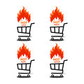 Vector illustration of shopping cart with flame. Fire labels set. Royalty Free Stock Photo
