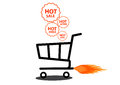 Vector illustration of shopping cart with flame. Royalty Free Stock Photo