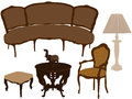 Vector illustration of silhouettes of different re retro furniture Royalty Free Stock Image