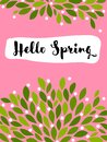 Vector illustration in simple flat style of abstract floral card with cute blossoming bush and hello spring lettering