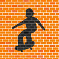 Vector illustration of skater shadow in brick wall Royalty Free Stock Images