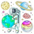 Vector illustration comic style colorful icons, stickers astronaut hugging planet earth, planets and asteroids
