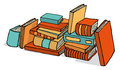 Vector illustration of sketchy bunch of piled books Royalty Free Stock Image