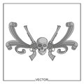 Vector illustration of skull and ancient revolvers on a white background Stock Images