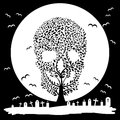 Vector illustration of skull tree moon graves yard Stock Photo