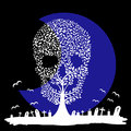 Vector illustration of skull tree moon graves yard Royalty Free Stock Photo