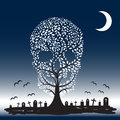 Vector illustration of skull tree moon graves yard Royalty Free Stock Photos
