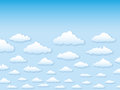 Vector illustration sky with clouds in cartoon sty Stock Photos