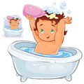 Vector illustration of a small child sitting in the bathroom and pouring shampoo on his head.