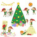 Vector illustration of small cute elves decorating Christmas tree set.