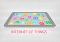 Vector illustration of smart phone or tablet with connected devices internet of things iot concept visualized by connections Stock Images