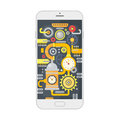 Vector illustration of smartphone with different steampunk vintage cogs, gears and scales inside. Technology concept.