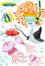Vector illustration of snorkeling woman and fishes Royalty Free Stock Photo