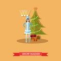 Vector illustration of Snow Maiden near New Year tree