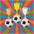 Vector illustration soccer ball trophy Stock Images
