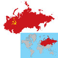 Vector illustration of soviet union map with flag inside Royalty Free Stock Photo