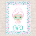 Vector illustration of spa party invitation with colorful mosaic frame with woman with head wrapped towel and cosmetic facial mask Royalty Free Stock Photo