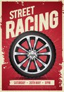 Vector Illustration speed street racing poster flyer event template with cool car wheel Royalty Free Stock Photo