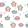 Vector illustration of the stars, lips and crowns with the funny faces seamless pattern. Trendy Kawaii emoticons for Royalty Free Stock Photo