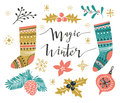 Vector illustration with stylish lettering `Wonder winter` and isolated christmas elements. Royalty Free Stock Photo