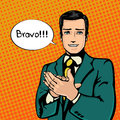 Vector illustration of successful businessman applause in vintage pop art comics style likes and positive feel gesture good agree Stock Photos