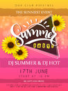 Vector illustration of summer party poster with triangle frame and sunflower flowers and hand lettering text - summer Royalty Free Stock Photo