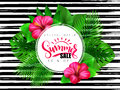 Vector illustration of summer sale banner with hand lettering text surrounded with hibiscus flower and tropical leaves -