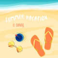 Vector illustration of summer vacation is coming text with sunglasses, cocktail, and beach shoes. Royalty Free Stock Photo